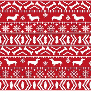 Dachshund fair isle christmas fabric dog breed doxie dachsie pattern red