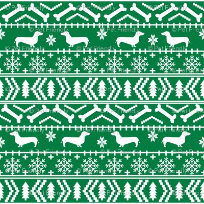 Dachshund fair isle christmas fabric dog breed doxie dachsie pattern green