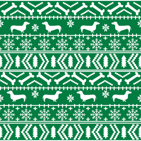Dachshund fair isle christmas fabric dog breed doxie dachsie pattern green fabric by petfriendly on Spoonflower - custom fabric
