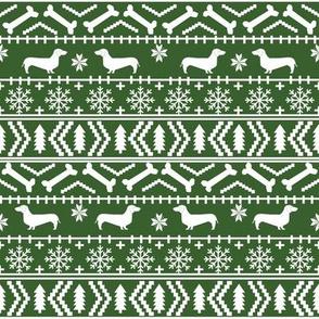 Dachshund fair isle christmas fabric dog breed doxie dachsie pattern med green