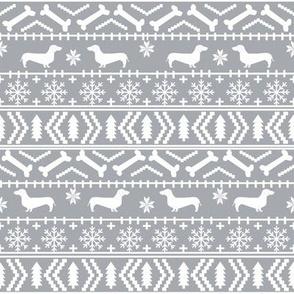 Dachshund fair isle christmas fabric dog breed doxie dachsie pattern grey