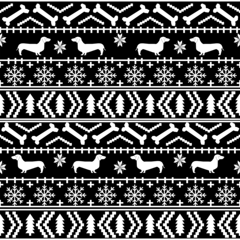 Dachshund fair isle christmas fabric dog breed doxie dachsie ...