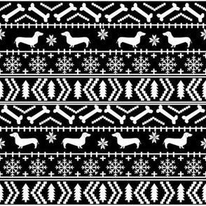 Dachshund fair isle christmas fabric dog breed doxie dachsie pattern black and white