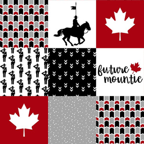 Future Mountie//RCMP - Wholecloth Cheater Quilt -Black/Red