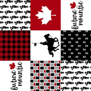 Future Mountie//RCMP - Wholecloth Cheater Quilt - Black/Red