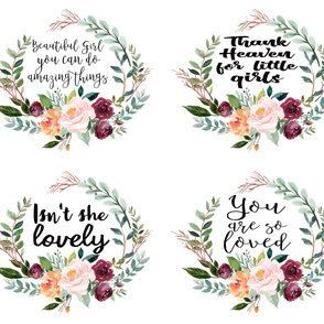 "42"" Floral Wreath Fat Quarter Quotes"