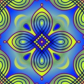 Looping Quatrefoil blue
