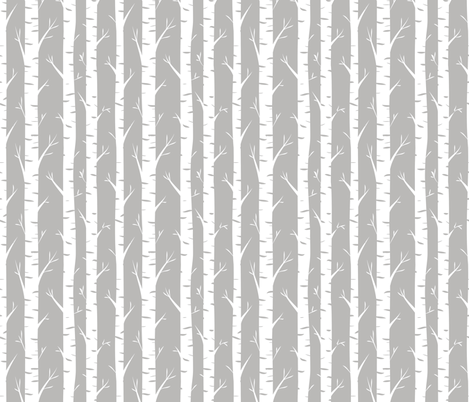 Birch Trees on Grey fabric by longdogcustomdesigns on Spoonflower - custom fabric