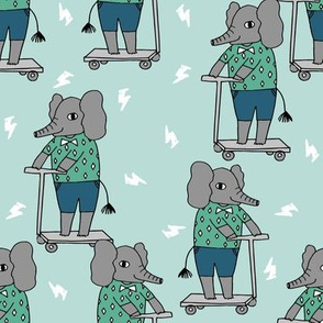 elephant scooter fabric // kids illustration elephant character boys design - blue