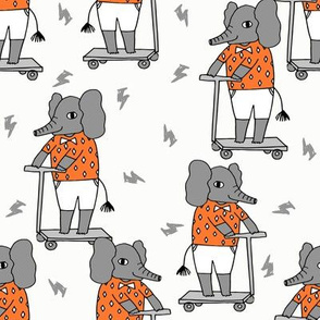 elephant scooter fabric // kids illustration elephant character boys design - orange