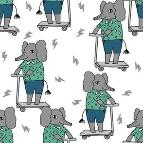 elephant scooter fabric // kids illustration elephant character boys design - blue and green