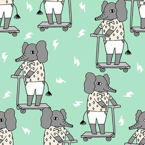 elephant scooter fabric // kids illustration elephant character boys design - mint and grey