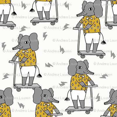 elephant scooter fabric // kids illustration elephant character boys design - mustard