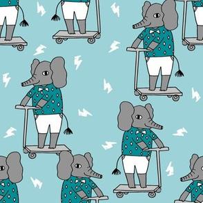 elephant scooter fabric // kids illustration elephant character boys design - blue