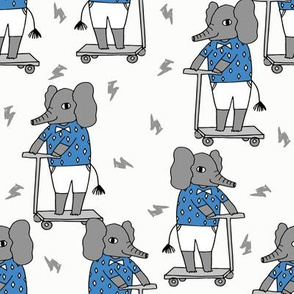 elephant scooter fabric // kids illustration elephant character boys design - blue and white