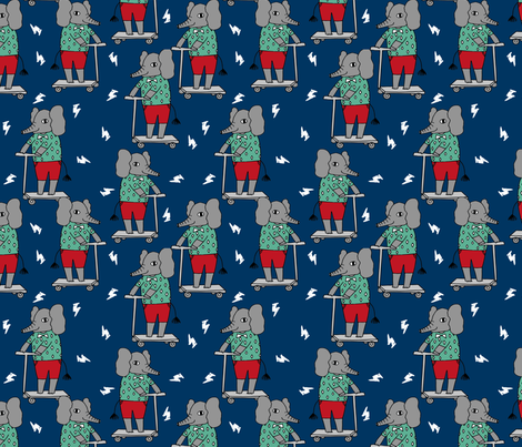 Elephant scooter fabric kids illustration elephant for Kids character fabric