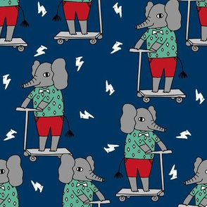 elephant scooter fabric // kids illustration elephant character boys design - navy