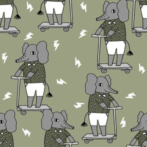 elephant scooter fabric // kids illustration elephant character boys design - artichoke