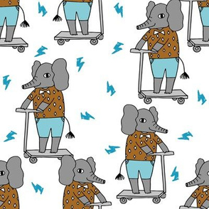 elephant scooter fabric // kids illustration elephant character boys design - blue and ochre