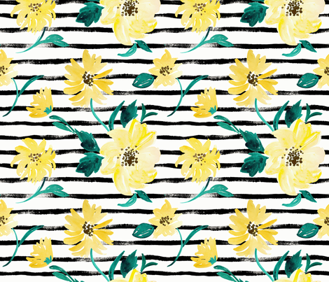 Happy-Flowers-Stripe fabric by crystal_walen on Spoonflower - custom fabric