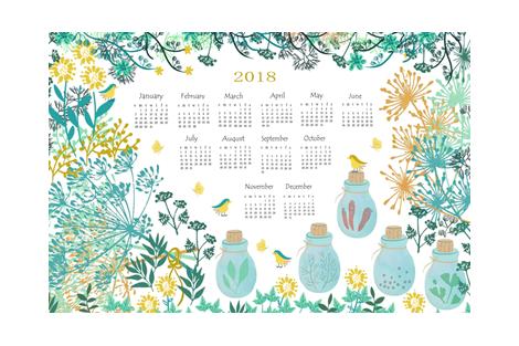 Good Herbs Tea Towel Calendar 2018 fabric by susan_polston on Spoonflower - custom fabric