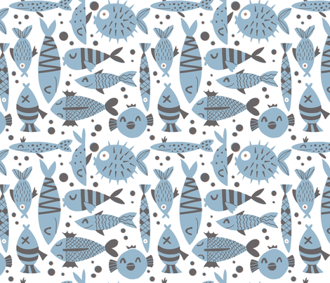 Fishes neutral colors fabric by natalia_gonzalez on Spoonflower - custom fabric