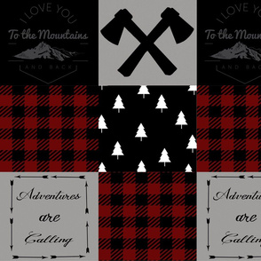 I love you to the mountains and back - wholecloth - dark red plaid