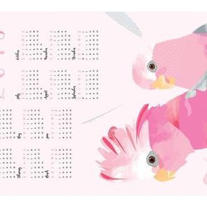2018 Australian Galahs calendar tea towel / pink bird