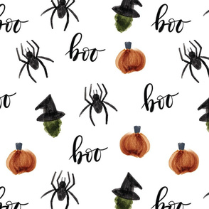 watercolor halloween // pumpkins spiders witches boo