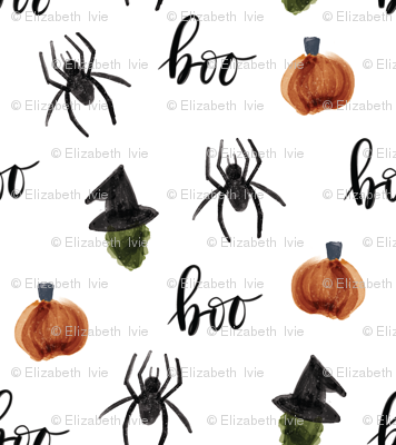 watercolor halloween // pumpkins spiders witches boo // small