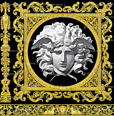 7 baroque rococo black gold flowers floral leaves leaf ivy vines acanthus Versace inspired medusa vases goats horn of plenty hoof Cornucopia columns gorgons Greek Greece mythology filigree