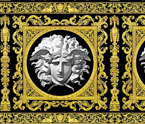 7 baroque rococo black gold flowers floral leaves leaf ivy vines acanthus Versace inspired medusa vases goats horn of plenty hoof Cornucopia columns gorgons Greek Greece mythology filigree fabric by raveneve on Spoonflower - custom fabric