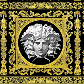 7 baroque rococo black gold flowers floral leaves leaf ivy vines acanthus Versace inspired medusa vases goats horn of plenty hoof Cornucopia columns gorgons Greek Greece mythology filigree
