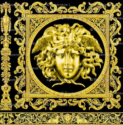 3 baroque rococo black gold flowers floral leaves leaf ivy vines acanthus Versace inspired medusa vases goats horn of plenty hoof Victorian gorgons Greek Greece mythology filigree swirls scrolls Cornucopia columns