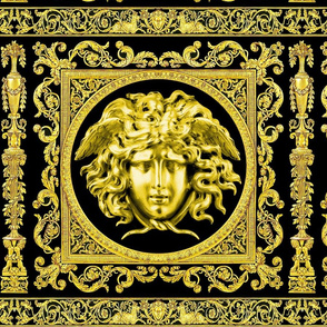 3 baroque rococo black gold flowers floral leaves leaf ivy vines acanthus Versace inspired medusa vases goats horn of plenty hoof Victorian gorgons Greek Greece mythology filigree swirls scrolls Cornucopia columns