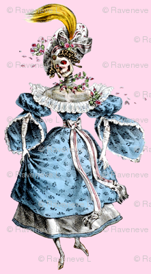 2 skulls skeletons Victorian elegant gothic lolita Baroque Rococo flowers floral roses blue pink morbid scary macabre egl ringlets wreaths  gowns bows ballgowns
