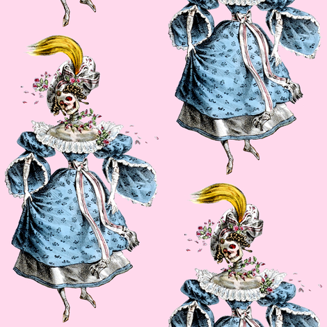2 skulls skeletons Victorian elegant gothic lolita Baroque Rococo flowers floral roses blue pink morbid scary macabre egl ringlets wreaths  gowns bows ballgowns fabric by raveneve on Spoonflower - custom fabric