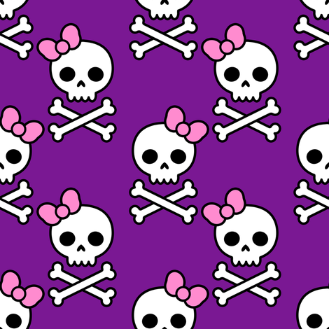 Cute Skulls Medium fabric by elladorine on Spoonflower - custom fabric