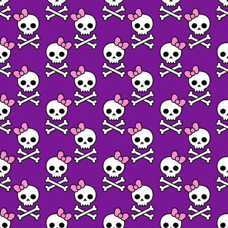 Cute Skulls Small fabric by elladorine on Spoonflower - custom fabric
