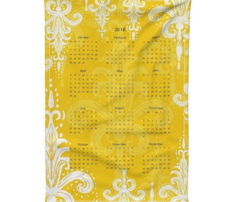 2018 tea towel calendar golden damask