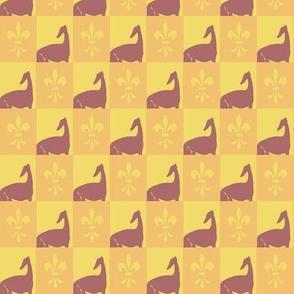 sighthound mosaik, yellow, orange