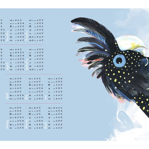 2018 Australian Black Cockatoos calendar tea towel