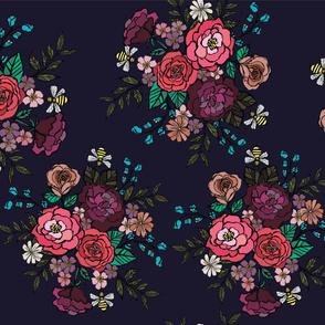 Moody Blooms Bouquet Navy