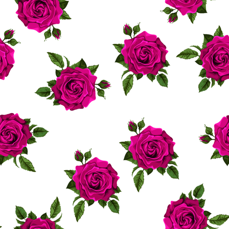 Roses Cerise on white fabric by raccoons_rags on Spoonflower - custom fabric
