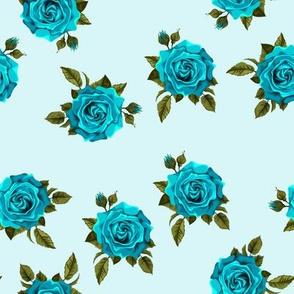 Roses teal on aqua