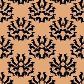 Custom Doxie Damask Black on Tan