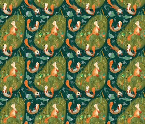 Pattern #74 - Playful otters by the river - SM fabric by irenesilvino on Spoonflower - custom fabric