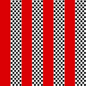 Red Black and White Polka Dot Stripe