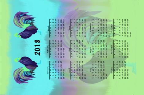 Glorious Rooster Calendar fabric by gargoylesentry on Spoonflower - custom fabric
