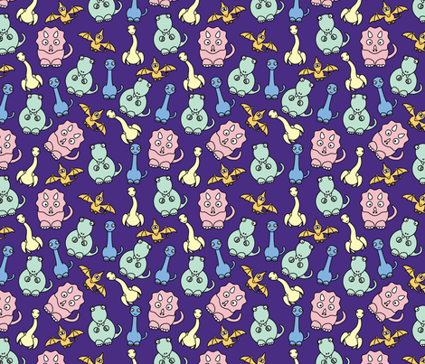 Friendly dinosaurs 8in pastel purple fabric for Purple dinosaur fabric